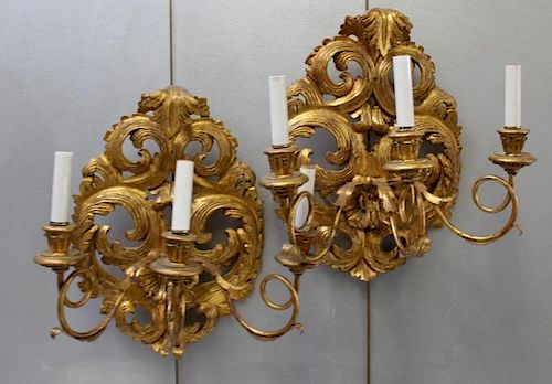 A  Pair of  Antique Rococo Carved Giltwood
