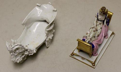 Lot of 2 Antique Continental Porcelain Pieces.