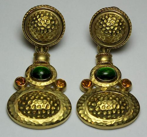 JEWELRY. 18kt Gold and Colored Gem Earrings.