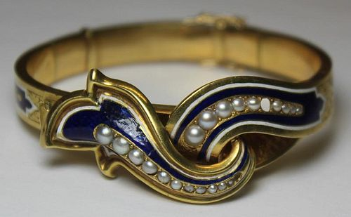 JEWELRY. French 18kt Gold, Enamel, and Pearl