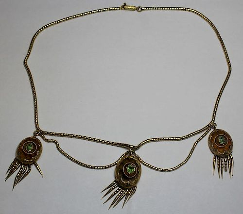 JEWELRY. 18kt Gold and Emerald Fringe Necklace.