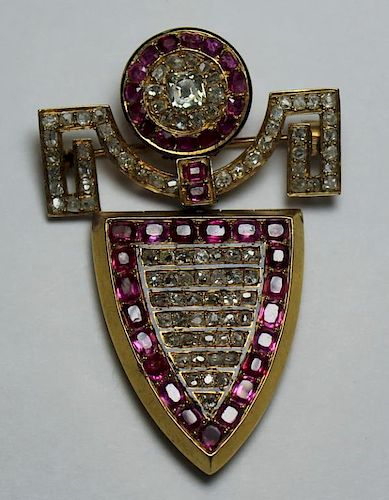 JEWELRY. French 18kt Gold Diamond and Ruby Pendant