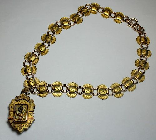 JEWELRY. Gold Etruscan Style Necklace and Locket.