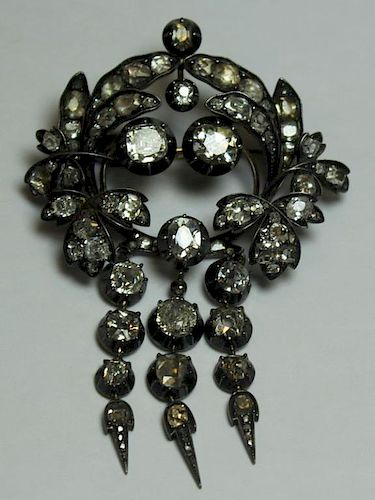 JEWELRY. Antique Gold and Diamond Brooch or