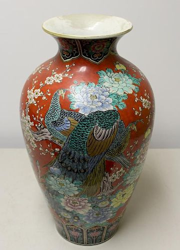 Antique Asian Enamel Decorated Large Urn.