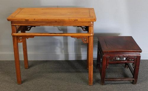 Antique Asian Hardwood Altar Table & a Stand.