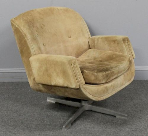 Vintage Suede Upholstered Swivel Chair