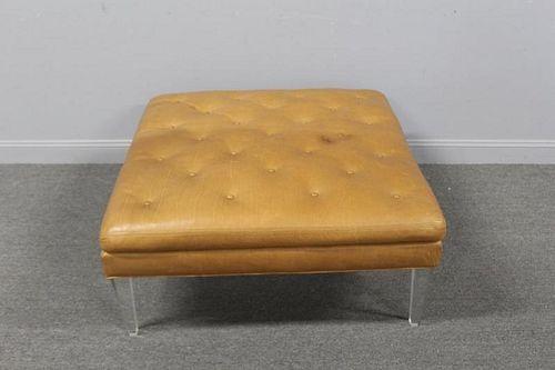 Vintage Leather Upholstered Ottoman Raised On
