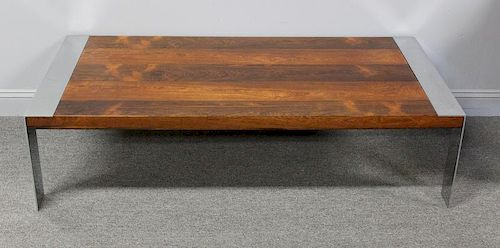 MIDCENTURY. Chrome and Rosewood Coffee Table By