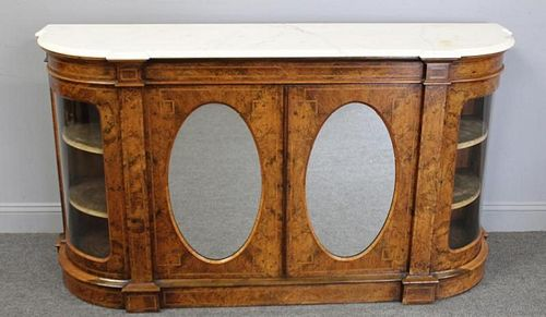19 Century Inlaid, Walnut and Marbletop Cabinet.