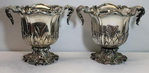 SILVER-PLATE. Pair of Silver-Plated Wine Coolers.