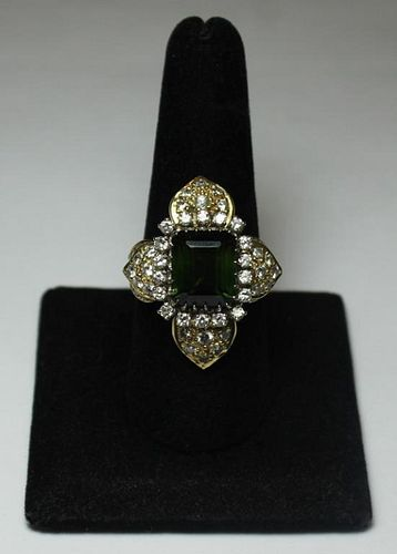JEWELRY. Diamond and Peridot Floral Form Ring.