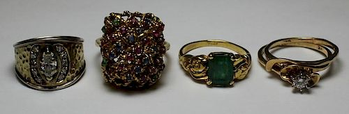 JEWELRY. Assorted Gold Ring Grouping.