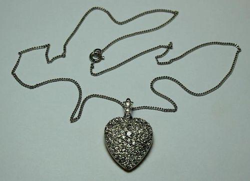 JEWELRY. Melee Diamond Heart Form Pendant.