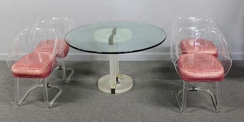 MIDCENTURY.  Acrylic Table and 4 Lucite Chairs.