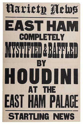 Houdini East Ham Palace Theater Broadside.
