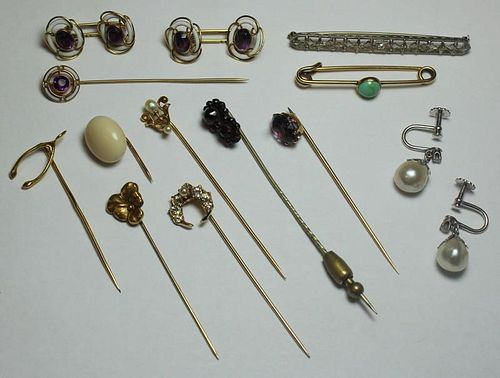 JEWELRY. Grouping of Earrings and Stickpins.