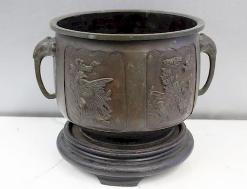 Antique Asian Bronze Jardiniere.