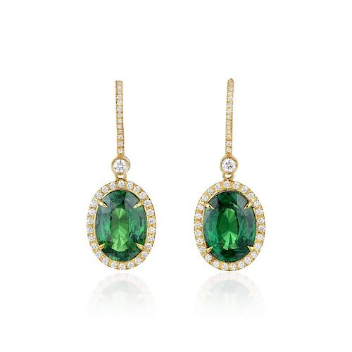 A Pair of Tsavorite and Diamond Earrings, with a GIA Report