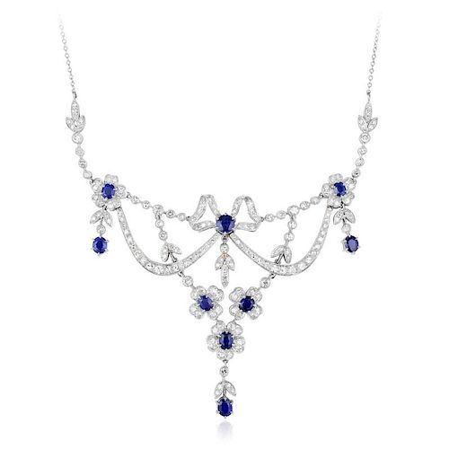A Diamond and Sapphire Garland Necklace