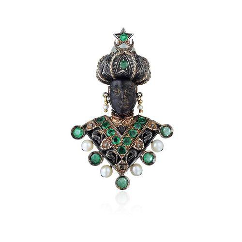 """Nardi Emerald and Pearl """"Moretto"""" Blackamoor Brooch"""