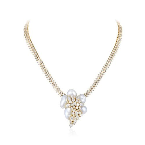 Henry Dunay Diamond and Pearl Necklace/Pin