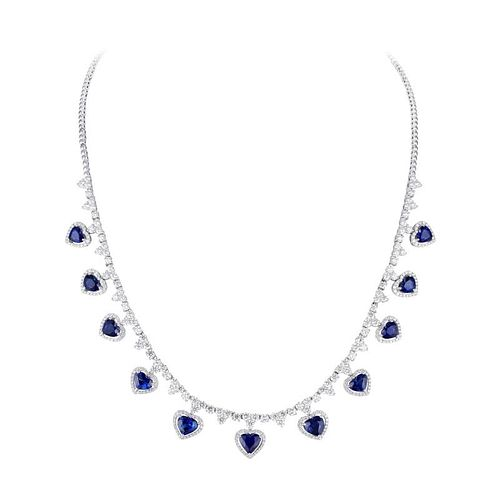 A Sapphire and Diamond Drop Necklace