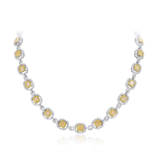 A Yellow and White Diamond Necklace