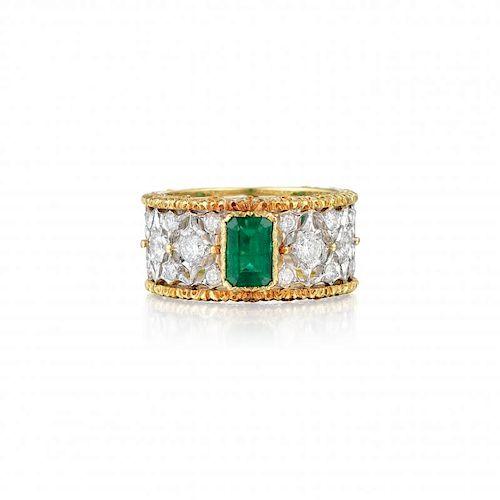 Buccellati Emerald and Diamond Ring