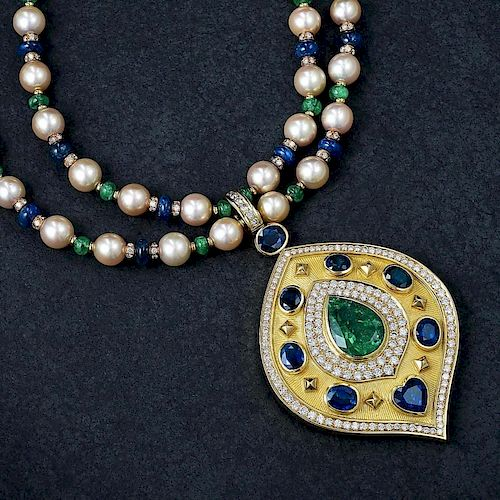 An Emerald Sapphire Diamond and Pearl Pendant Necklace, with an AGL Report