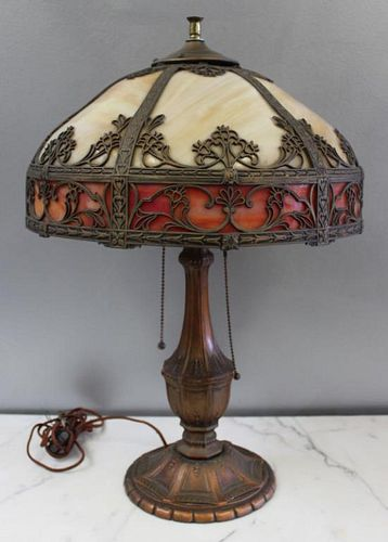 Antique Tiffany Style Slag Glass Table Lamp.