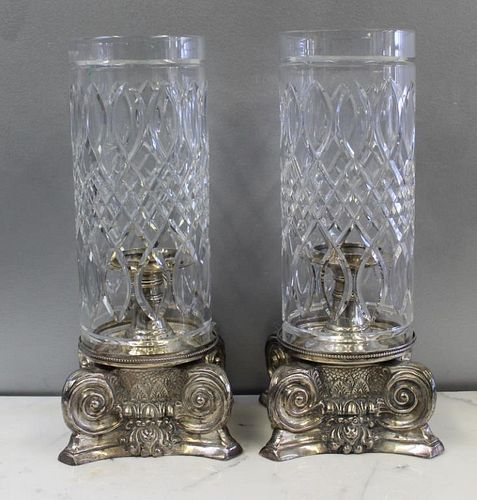 A Pair of Silverplate and Cut Glass Hurricane