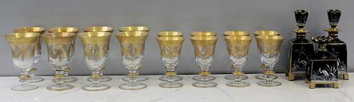 Set of Etched and Gilt Decorated Goblets and Gilt