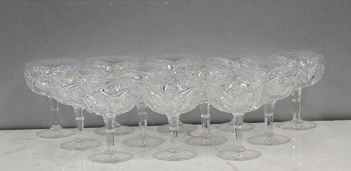 Set of 12 Large Cut Glass Dessert Compotes.