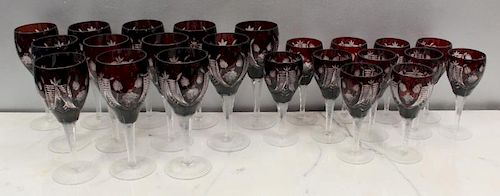 Lot of Cranberry Cut to Clear Goblets.
