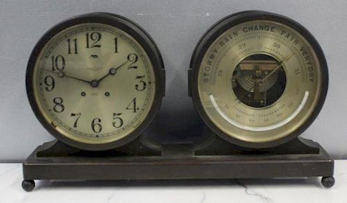 A Hardy & Hayes Chelsea Ships Clock & Barometer