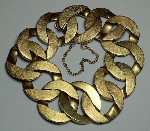 JEWELRY. Heavy 14kt Gold Link Bracelet.