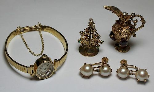 JEWELRY. Assorted 14kt Gold Jewelry Grouping.