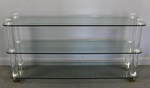 Vintage Lucite 2 Tier Glass Console with