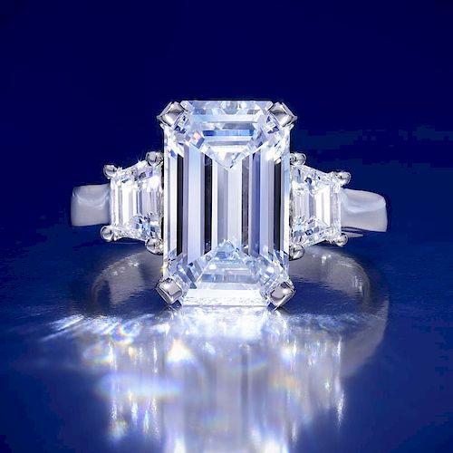 A 5.01-Carat D IF Emerald-Cut Diamond Ring, with a GIA Report