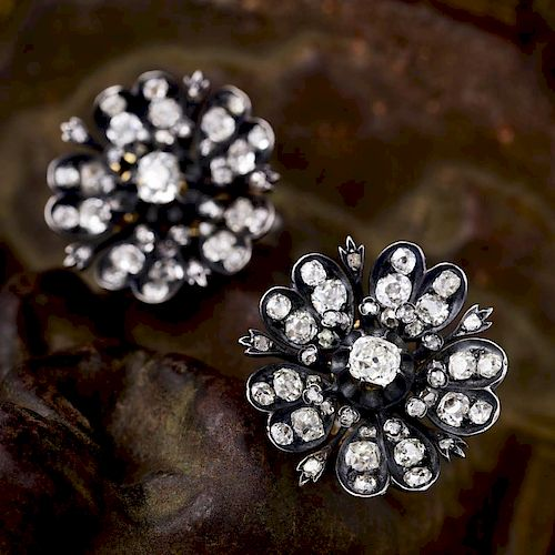 A Pair of Antique Diamond Flower Earrings