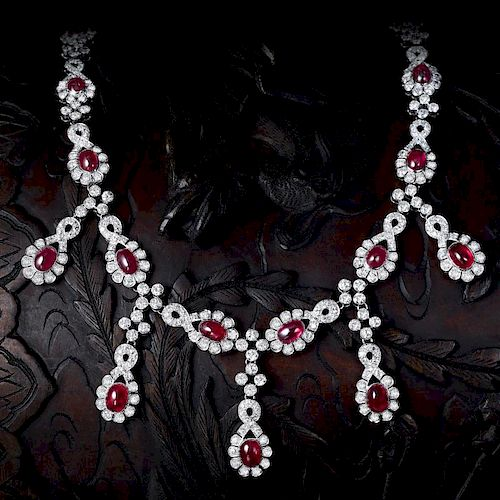 An Art Deco Star Ruby and Diamond Necklace, with a GIA Report