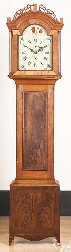 New England Federal mahogany and cherry tall clock