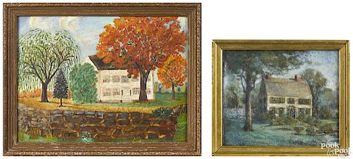 Two primitive oil on board works