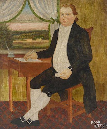 Contemporary oil on canvas folk portrait