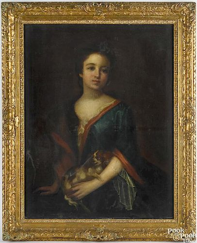 English oil on canvas portrait of young woman