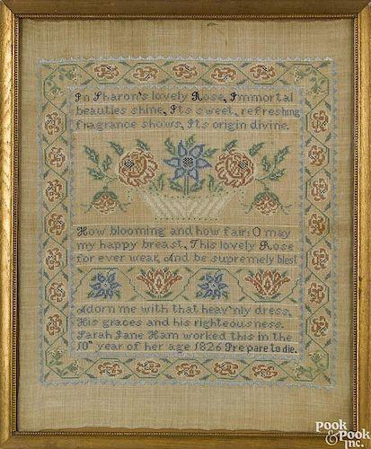 Silk on linen sampler dated 1826