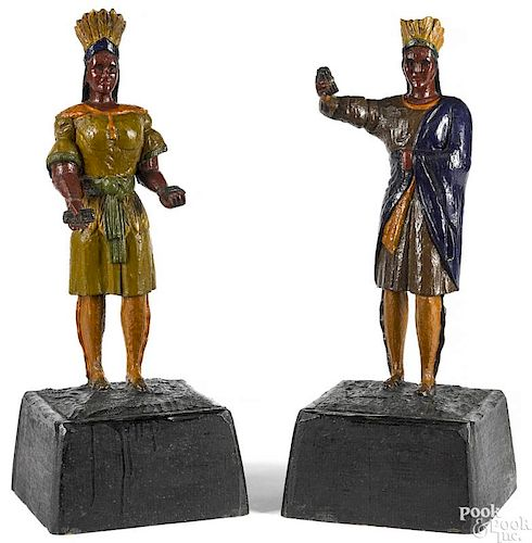 Pair of American carved and painted cigar figures