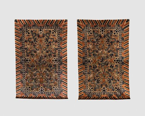 Pair of Chinese Silk and Metallic Thread Rugs, ca. 1900