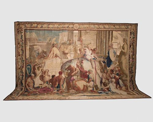Brussels Historical Tapestry Depicting The Entry of Alexander into Babylon, late 17th century
